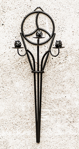 Tre-armad lång ljushållare Triskele