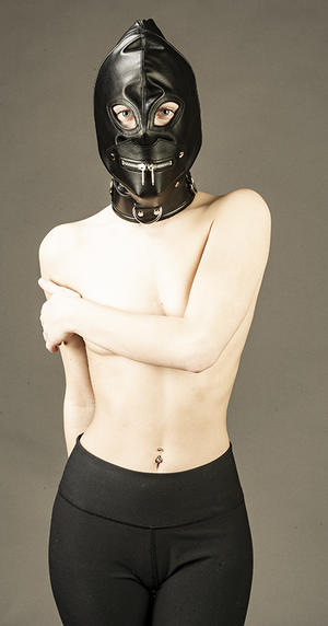 Svart lädermask