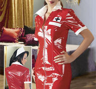 Lack-sjuksköterska-set röd/vit